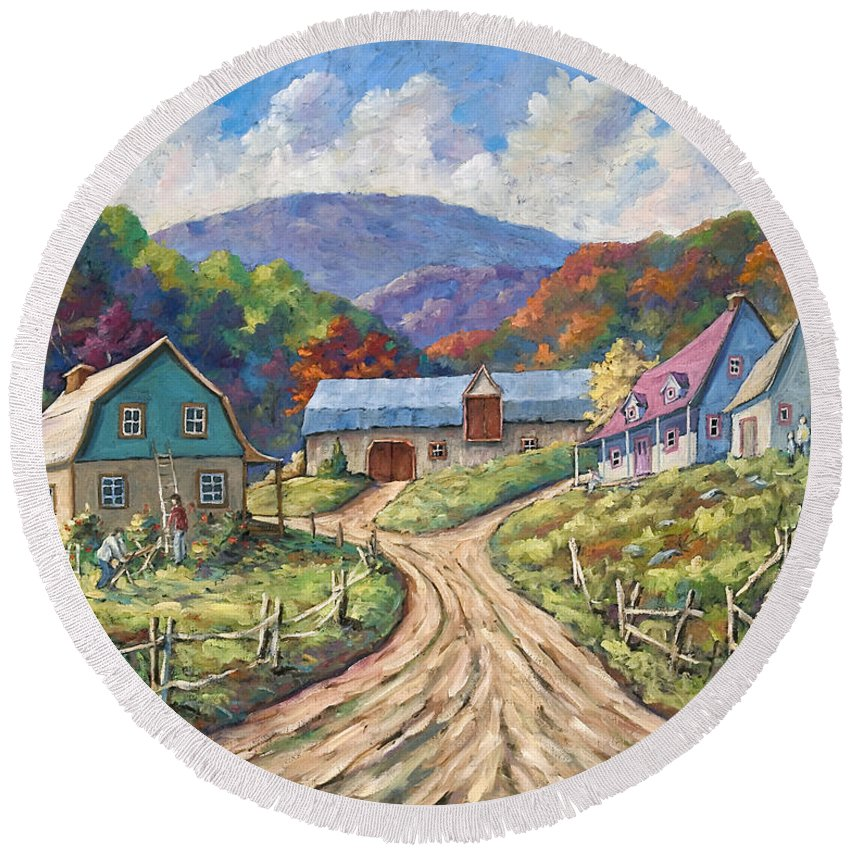 Country Round Beach Towel featuring the painting My Country My Village by Richard T Pranke