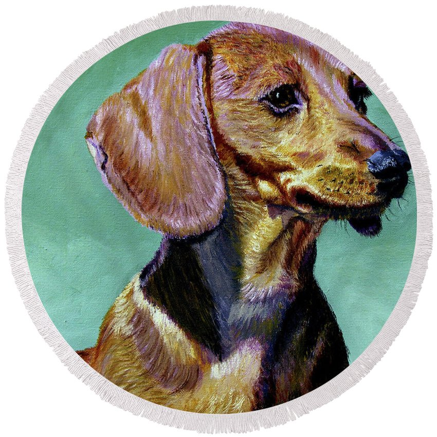 Daschund Round Beach Towel featuring the painting My Daschund by Stan Hamilton