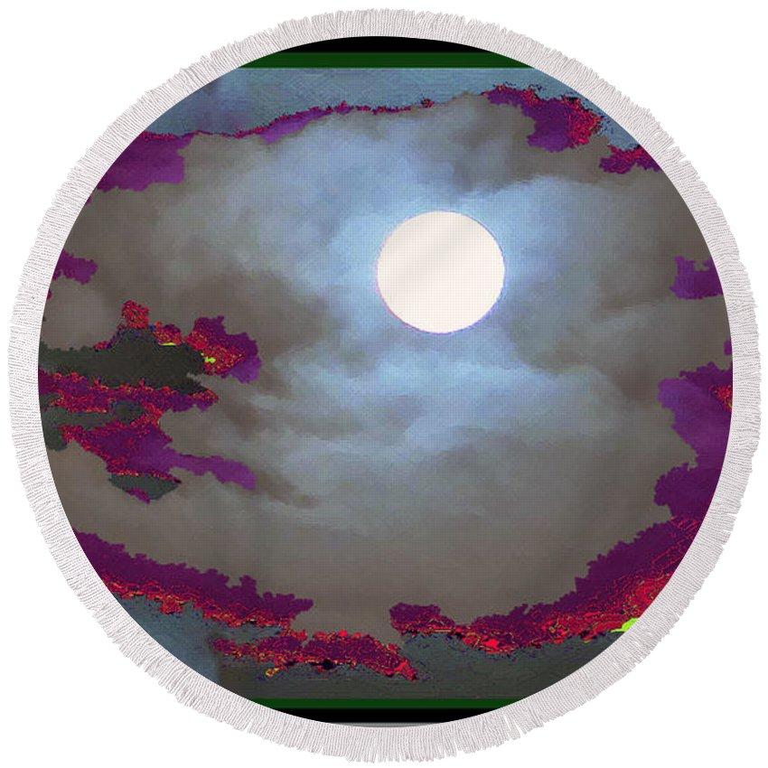Moon Round Beach Towel featuring the mixed media My Dream Moon Moonshine Sky by Navin Joshi