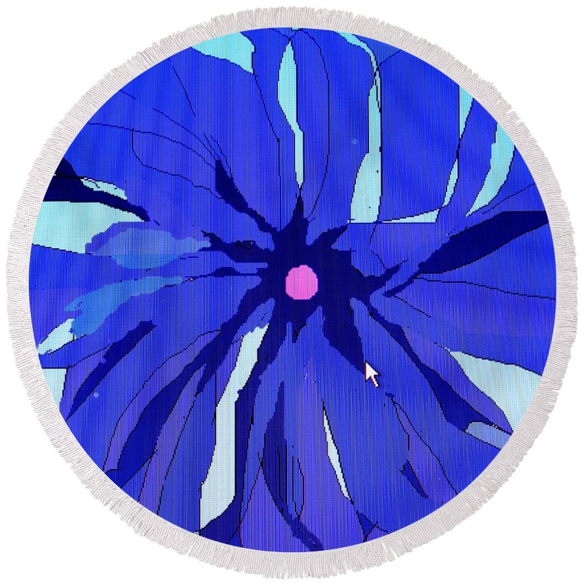 Flower Round Beach Towel featuring the digital art My Fantastic Flower by Ian MacDonald