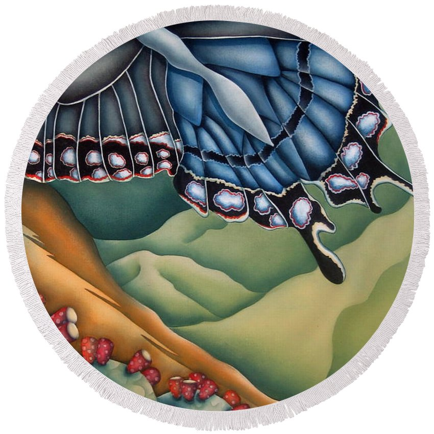 Butterfly Round Beach Towel featuring the painting My Favorite Canyon by Jeniffer Stapher-Thomas