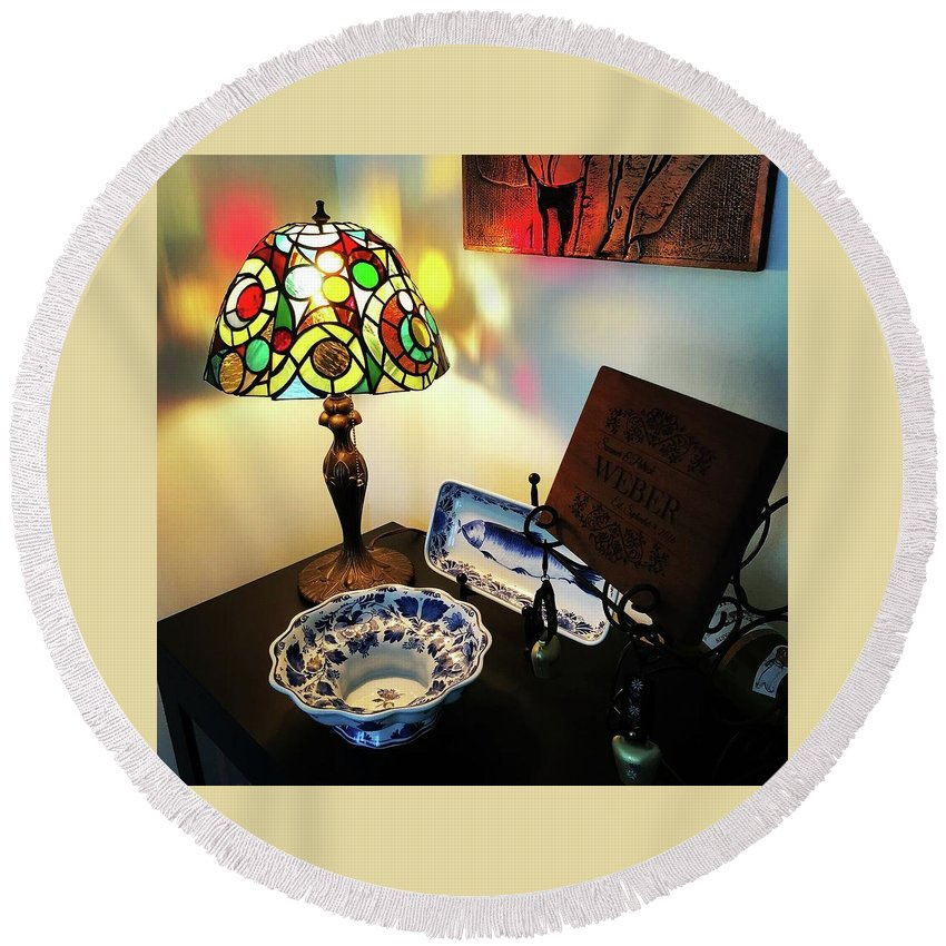 Stained Glass Lamp Round Beach Towel featuring the glass art My First Lamp by Summer Porter