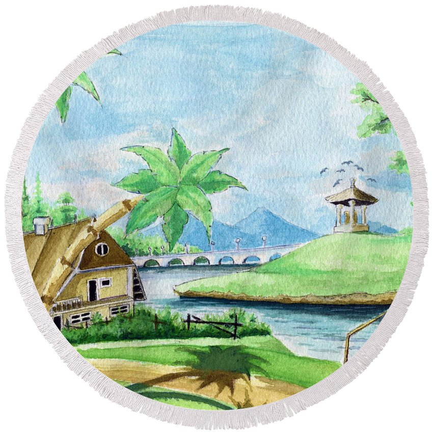 Landscape Round Beach Towel featuring the painting My First Landscape Watercolor Painting At The Age Of 18 by Alban Dizdari