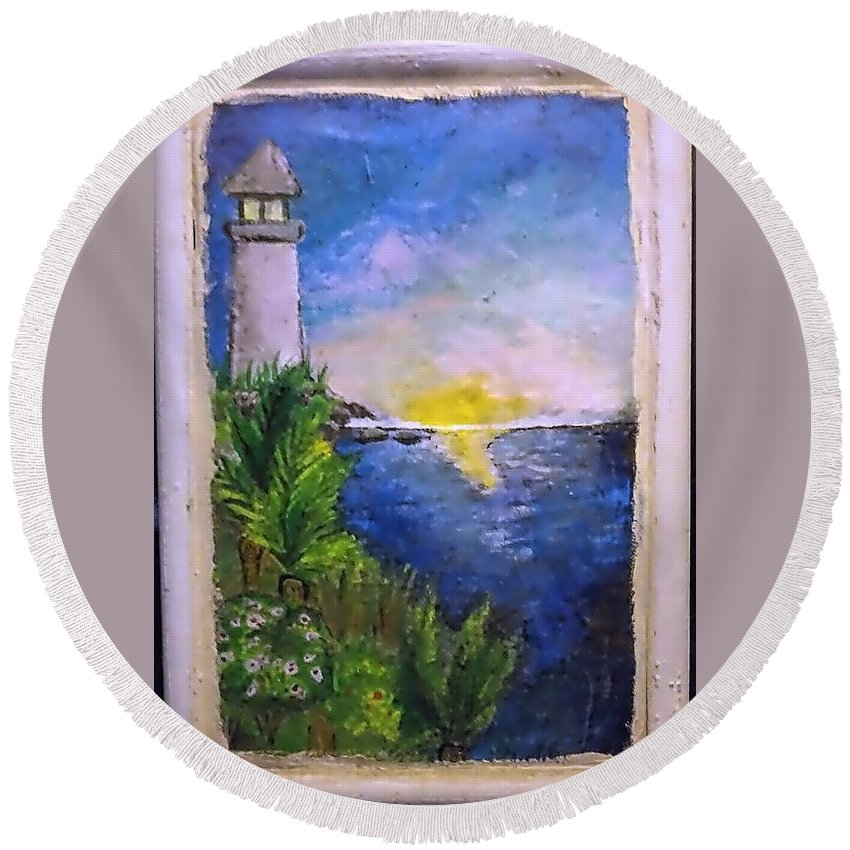 Round Beach Towel featuring the painting My First Light House by Andrew De Santos