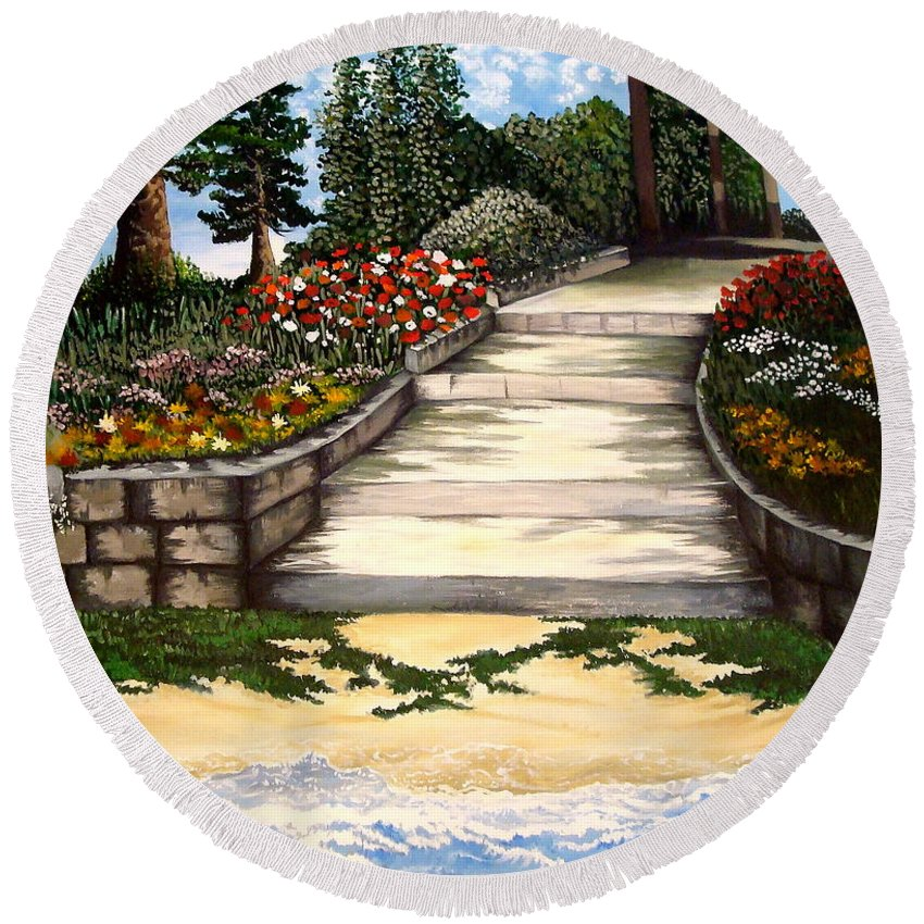 Landscape.pathway Round Beach Towel featuring the painting My First Masterpiece by Elizabeth Robinette Tyndall