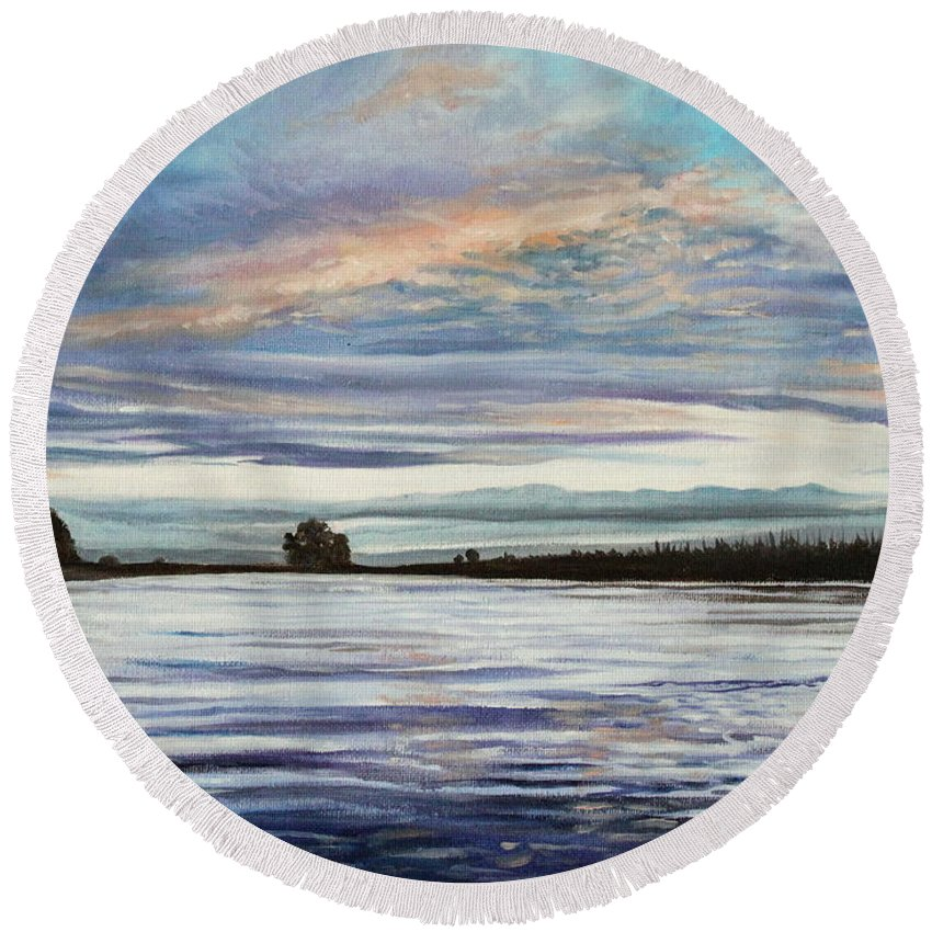 Landscape Round Beach Towel featuring the painting My First Sunset by Elizabeth Robinette Tyndall