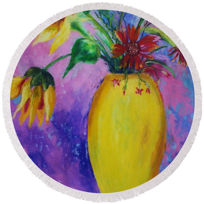 Sunflowers Round Beach Towel featuring the painting My Flowers by Melinda Etzold
