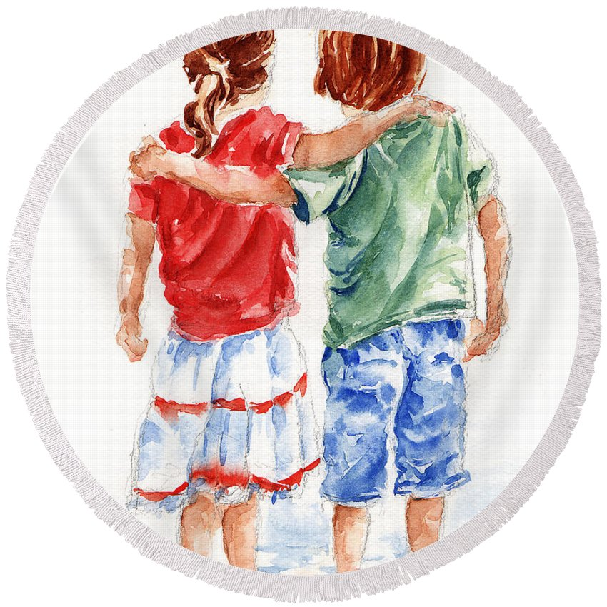 Watercolour Round Beach Towel featuring the painting My Friend by Stephie Butler