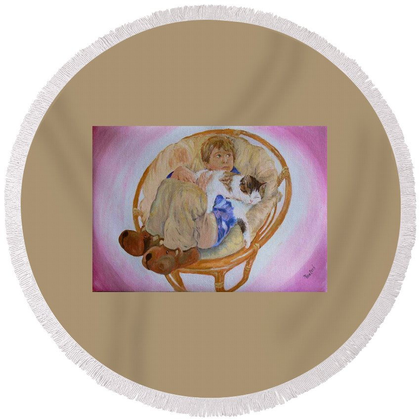 Portrait Round Beach Towel featuring the painting my grandson Pascal with his cat Paul by Helmut Rottler