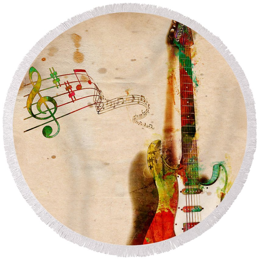 Guitar Round Beach Towel featuring the digital art My Guitar Can SING by Nikki Smith
