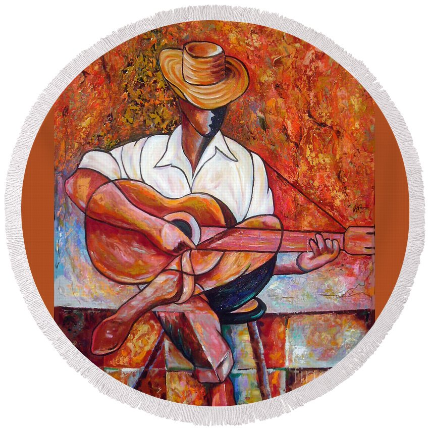 Cuba Art Round Beach Towel featuring the painting My Guitar by Jose Manuel Abraham
