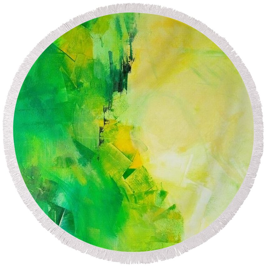 An Abstract Painting By Anupam Gupta Round Beach Towel featuring the painting My Heart Leaps Up by Anupam Gupta
