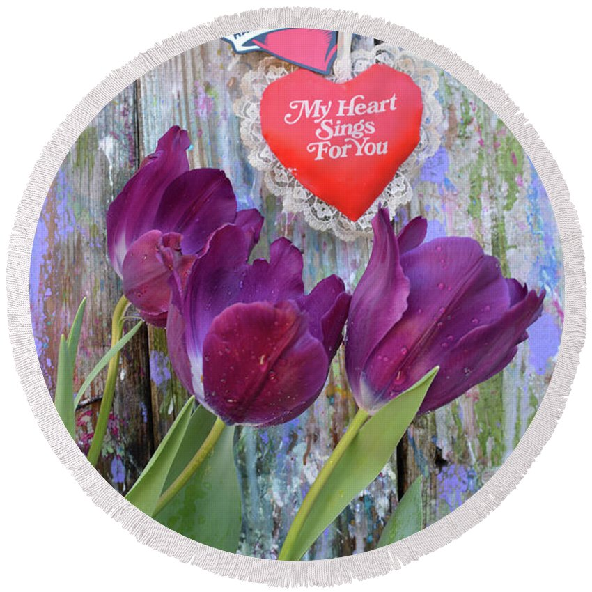 Valentine Round Beach Towel featuring the mixed media My Heart Sings For You by To-Tam Gerwe