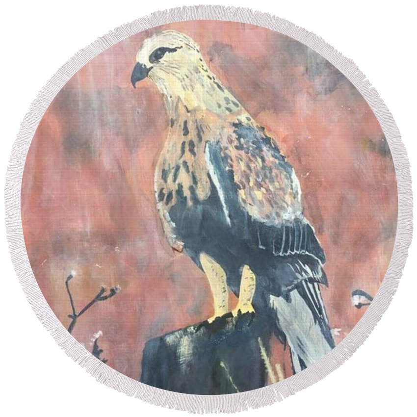 Hawk Round Beach Towel featuring the painting My Journey Begins by Chris Dippel