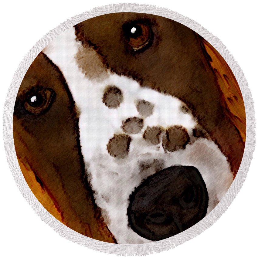 Dog Round Beach Towel featuring the painting My Little Welsh Springer by Karen Harding