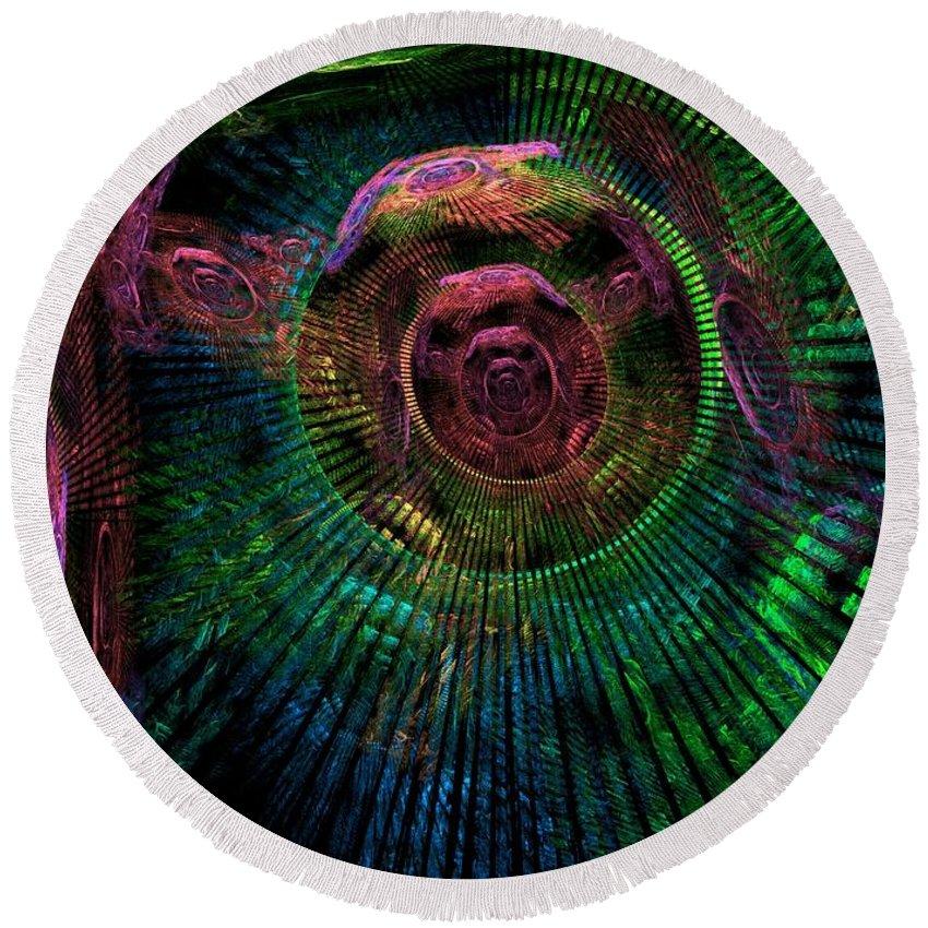 Fractal Round Beach Towel featuring the digital art My Mind's Eye by Lyle Hatch