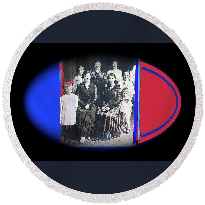 My Mother And Her Family Virginia Minnesota Circa 1919 Round Beach Towel featuring the photograph My Mother And Her Family Virginia Minnesota Circa 1919 by David Lee Guss