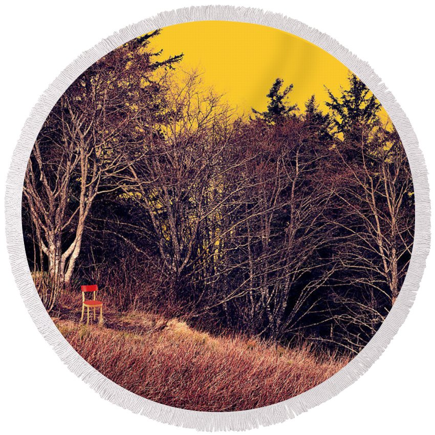 Landscape Round Beach Towel featuring the painting My Neighbor's Chair by Robert Todd