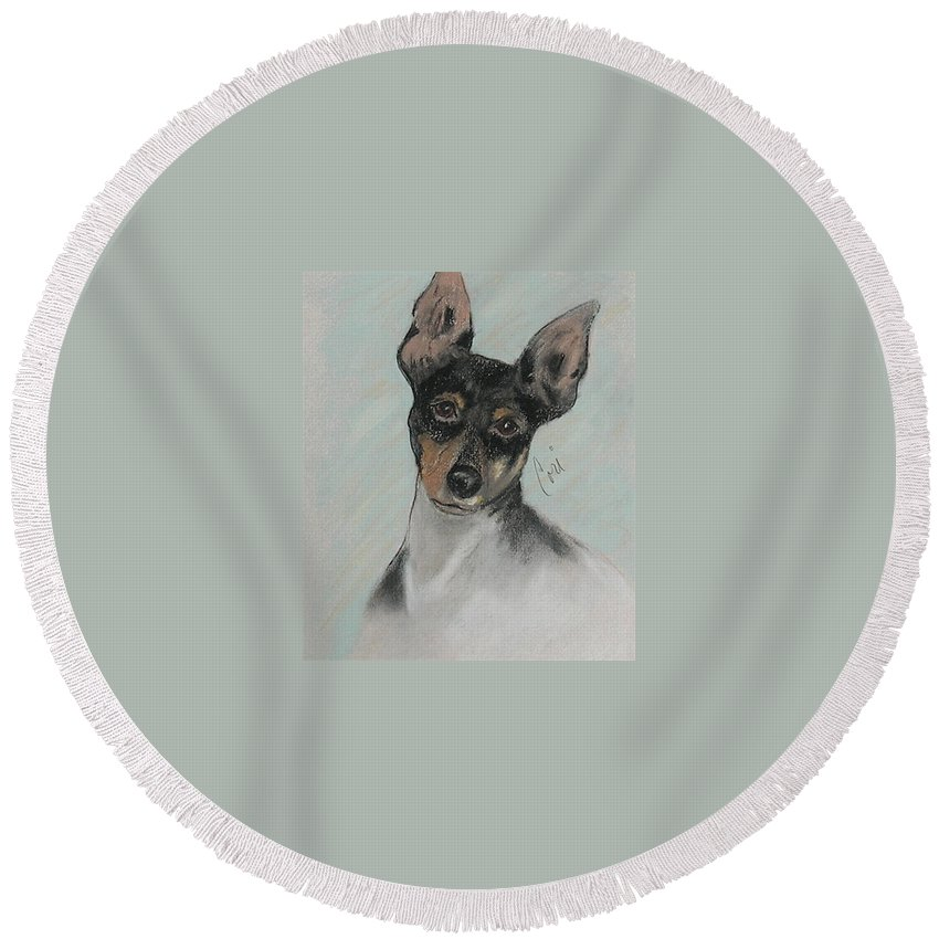 Toy Fox Terrier Round Beach Towel featuring the drawing My Oh My by Cori Solomon