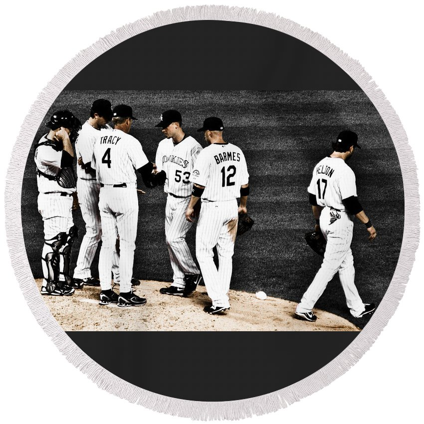 Baseball Round Beach Towel featuring the photograph My Rock Collection - Colorado Rockies by Marilyn Hunt