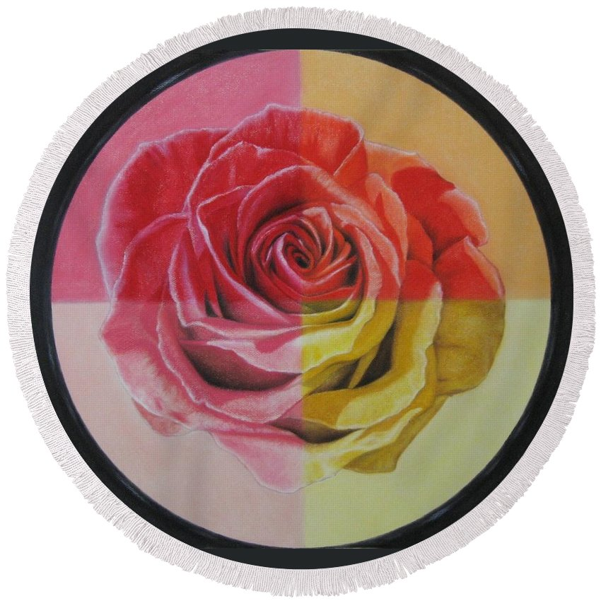 Rose Round Beach Towel featuring the painting My Rose by Lynet McDonald