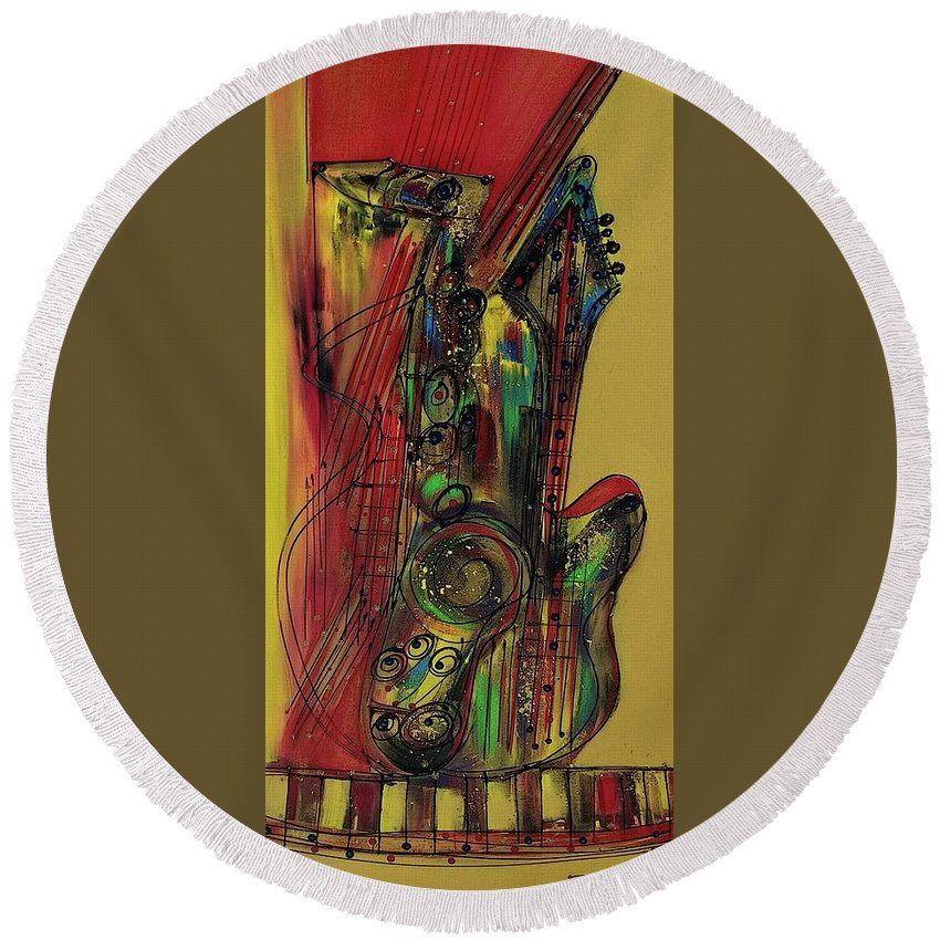 Jazz Round Beach Towel featuring the painting My Sax My Way by Robert L Berry