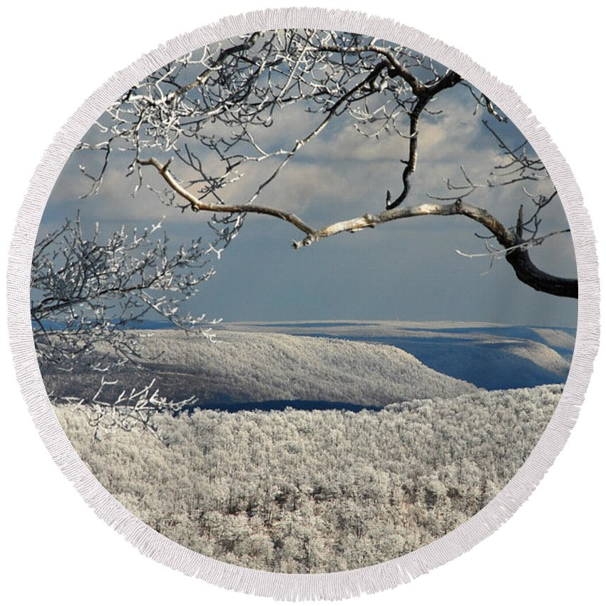 Winter Round Beach Towel featuring the photograph My Sunday by Lois Bryan