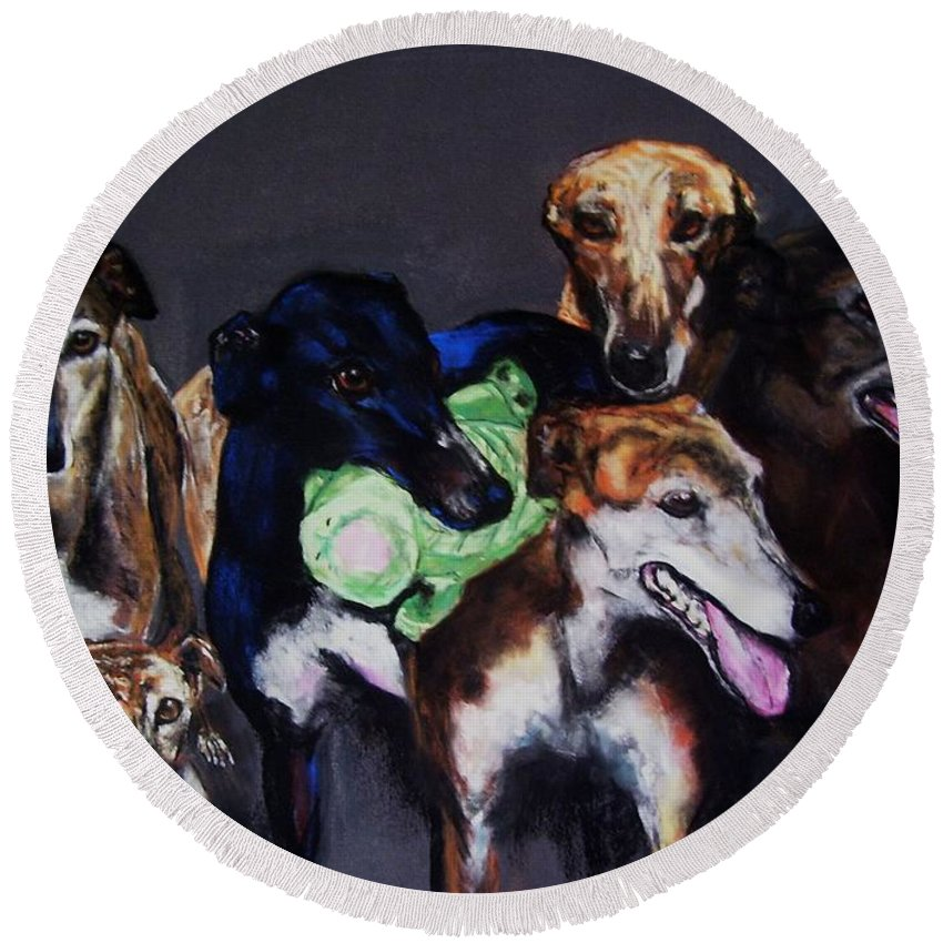 Greyhounds Round Beach Towel featuring the painting My Teachers by Frances Marino