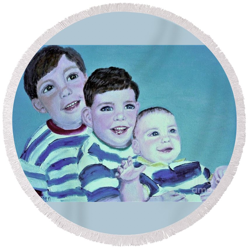 Children Round Beach Towel featuring the painting My Three Sons by Laurie Morgan