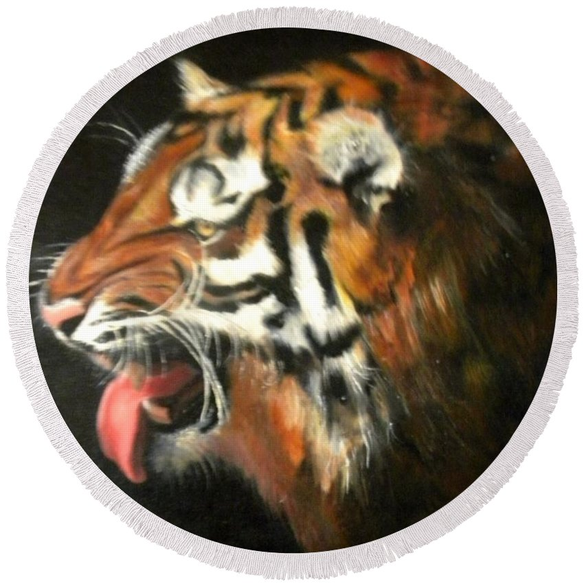Tiger Round Beach Towel featuring the painting My Tiger - The Year Of The Tiger by Jordana Sands
