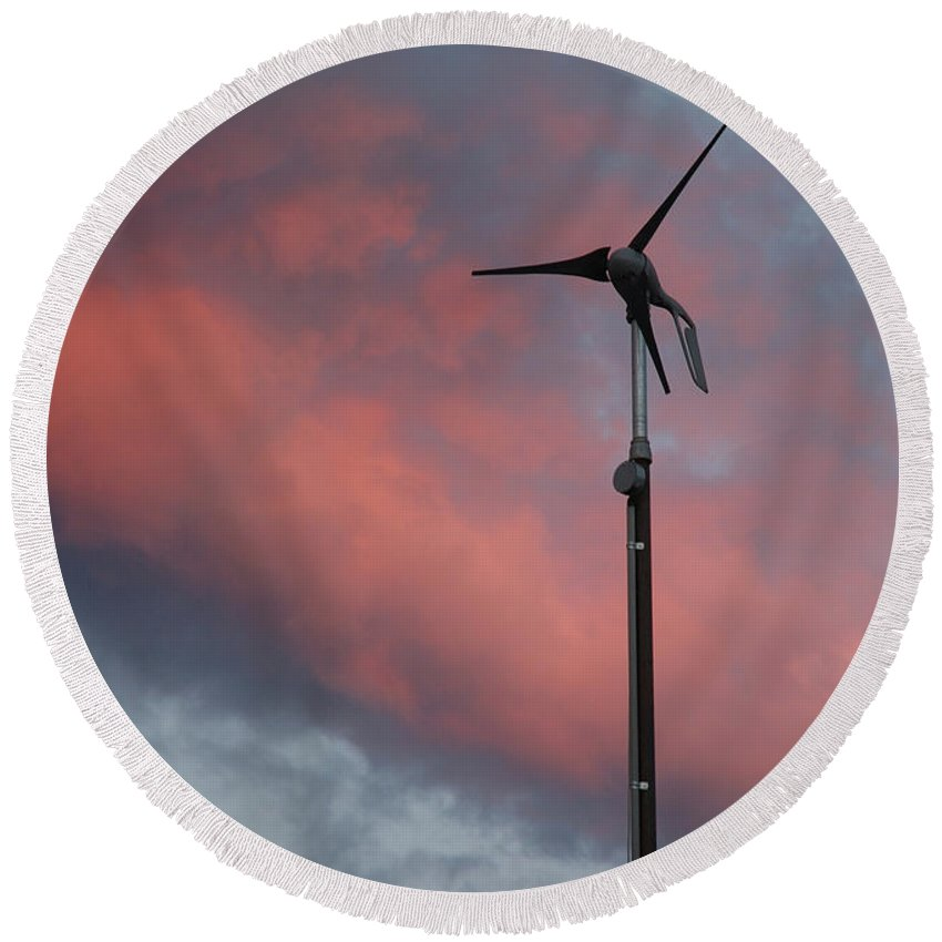Wind Round Beach Towel featuring the photograph My Wind Turbine by Jerry McElroy