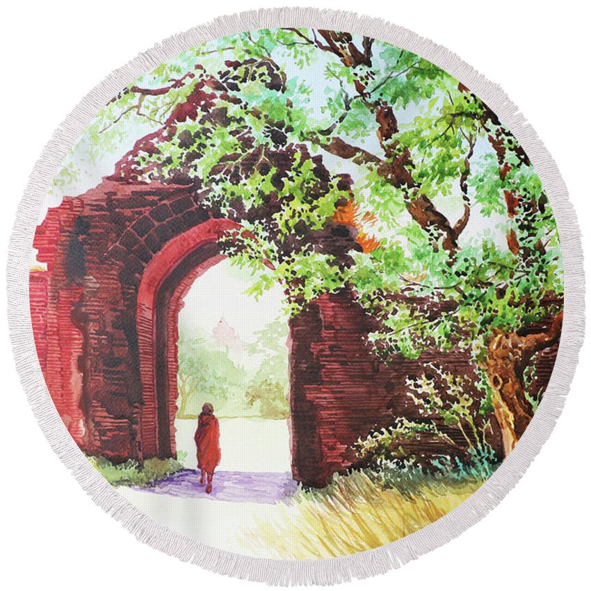 Landscape Round Beach Towel featuring the painting Myanmar Custom_010 by Win Min Mg
