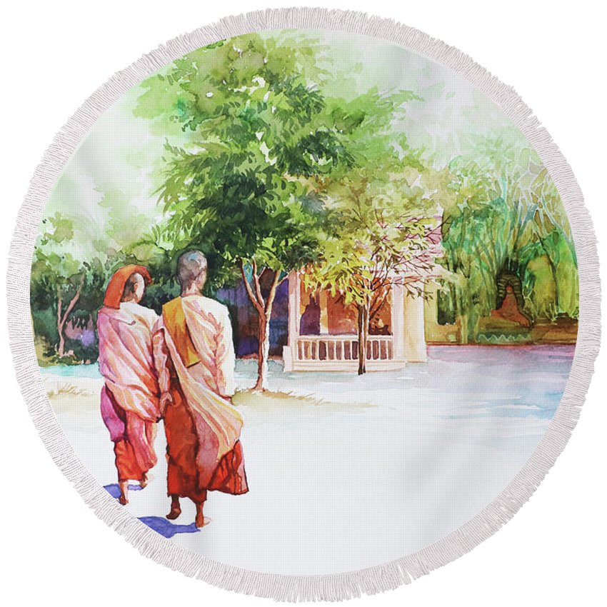 Landscape Round Beach Towel featuring the painting Myanmar Custom_013 by Win Min Mg