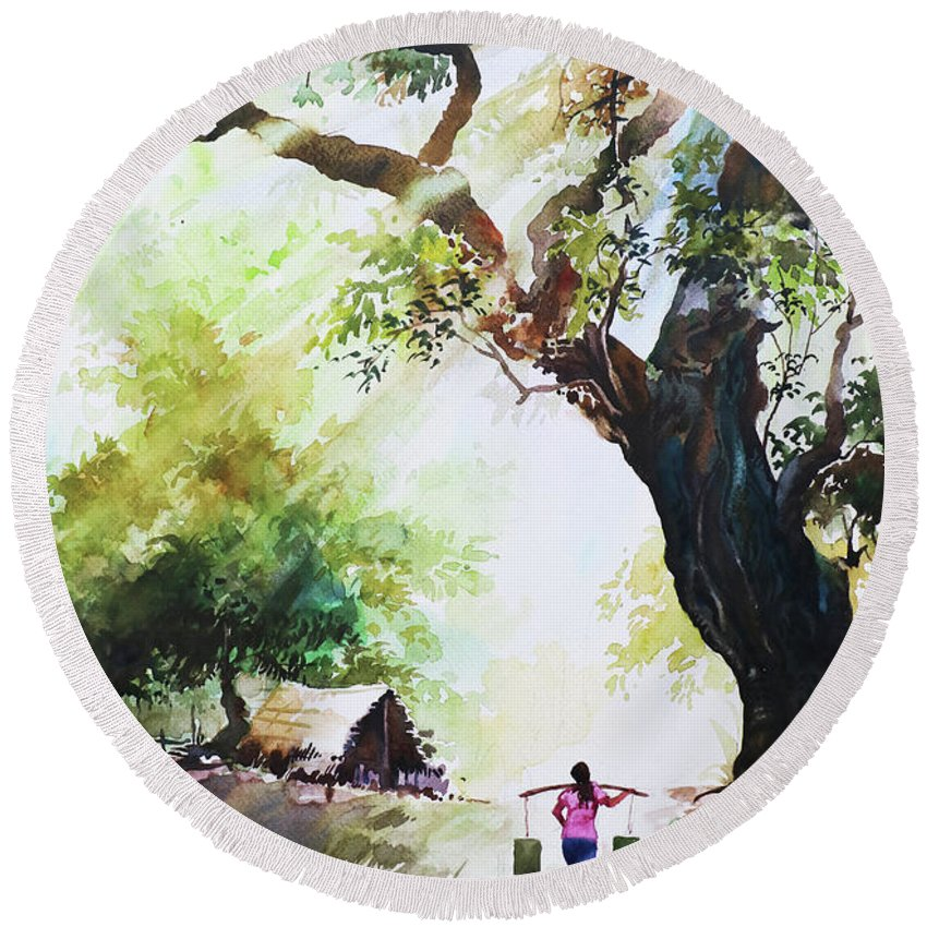 Landscape Round Beach Towel featuring the painting Myanmar Custom_03 by Win Min Mg