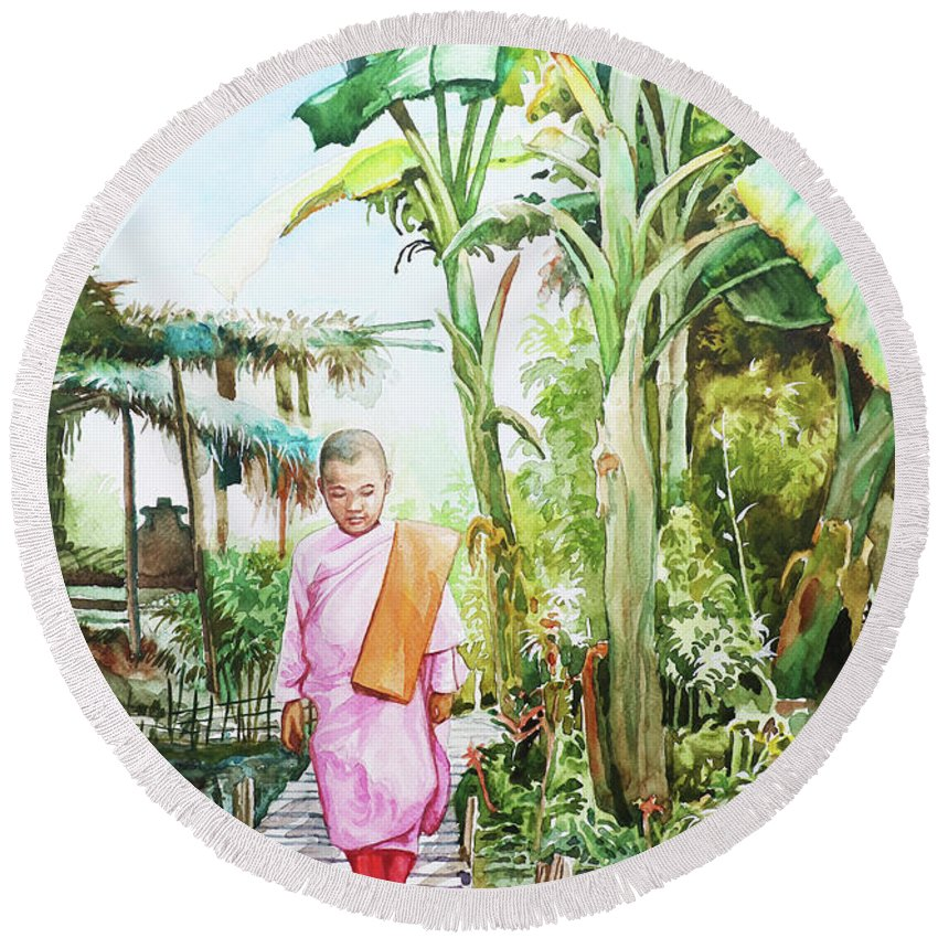 Landscape Round Beach Towel featuring the painting Myanmar Custom_04 by Win Min Mg