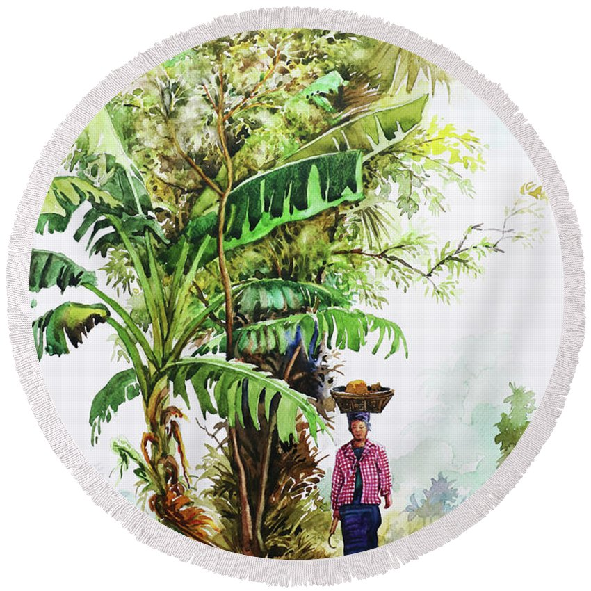 Landscape Round Beach Towel featuring the painting Myanmar Custom_05 by Win Min Mg