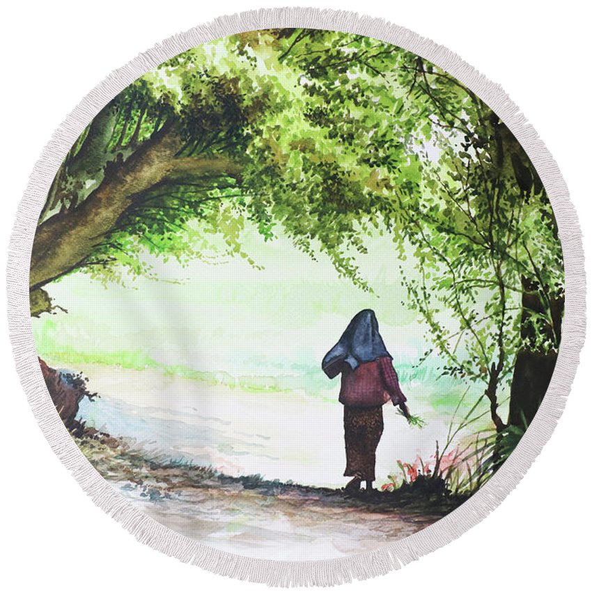Landscape Round Beach Towel featuring the painting Myanmar Custom_06 by Win Min Mg