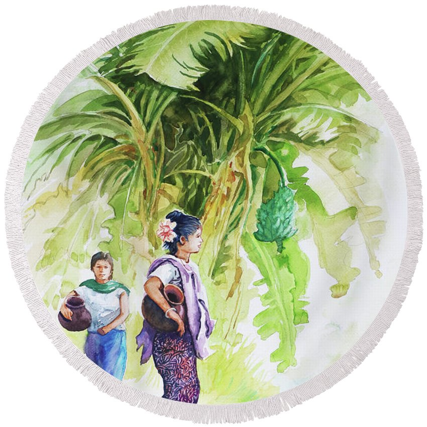 Landscape Round Beach Towel featuring the painting Myanmar Custom_08 by Win Min Mg