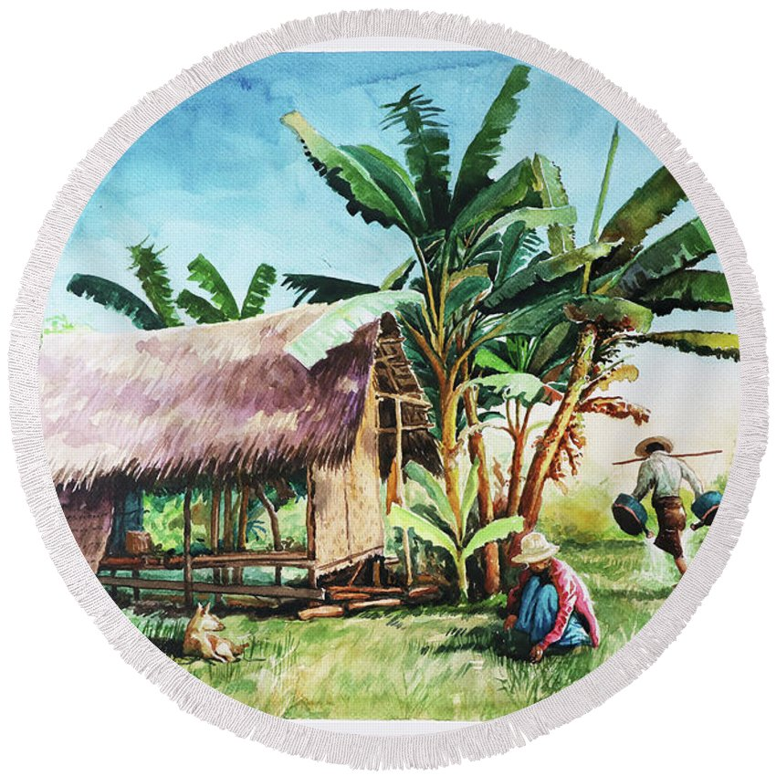 Landscape Round Beach Towel featuring the painting Myanmar Custom_09 by Win Min Mg