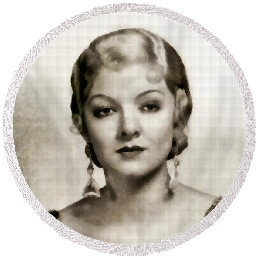 Hollywood Round Beach Towel featuring the painting Myrna Loy, Vintage Actress by John Springfield