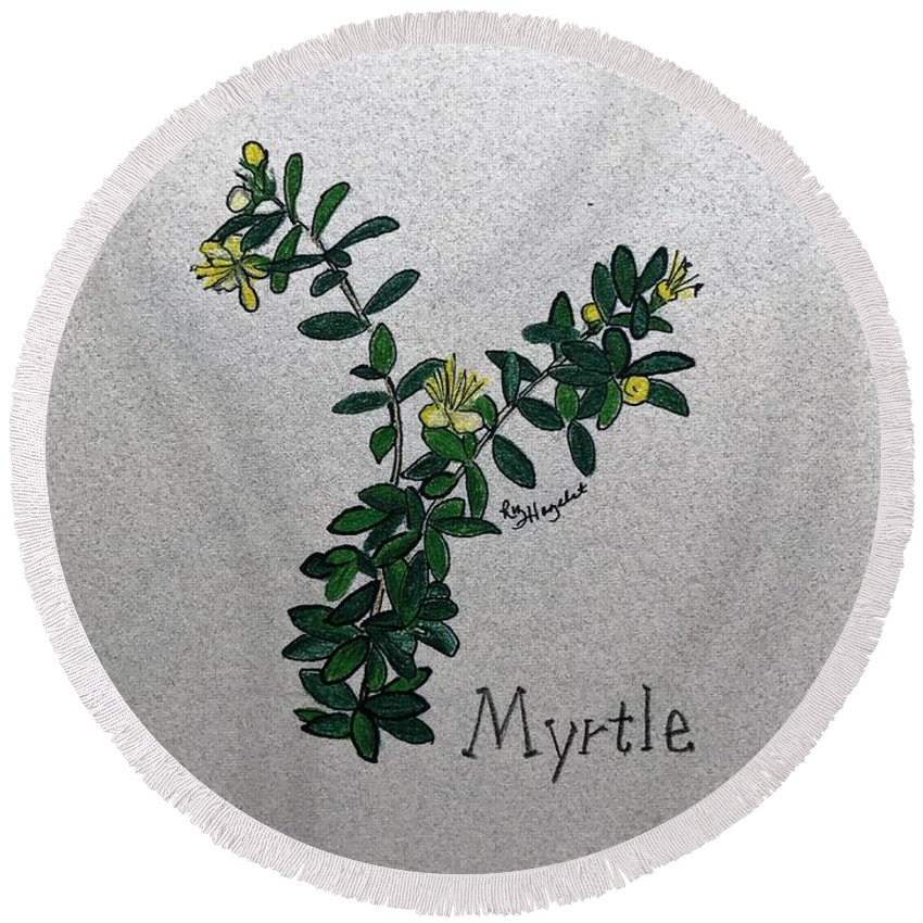 Myrtle Round Beach Towel featuring the drawing Myrtle by Elizabeth Hazelet