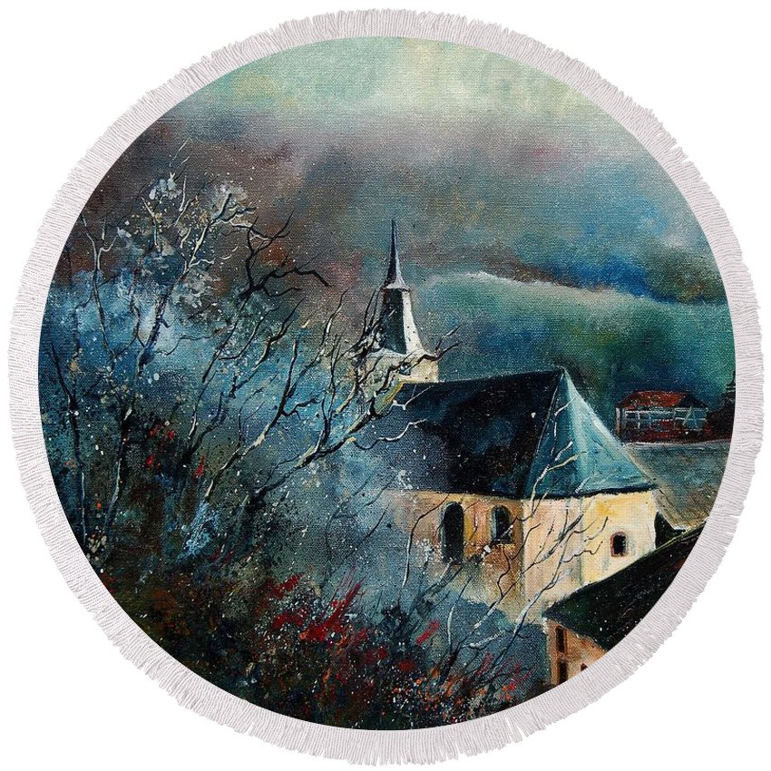 Tree Round Beach Towel featuring the painting Mysterious Chapel by Pol Ledent