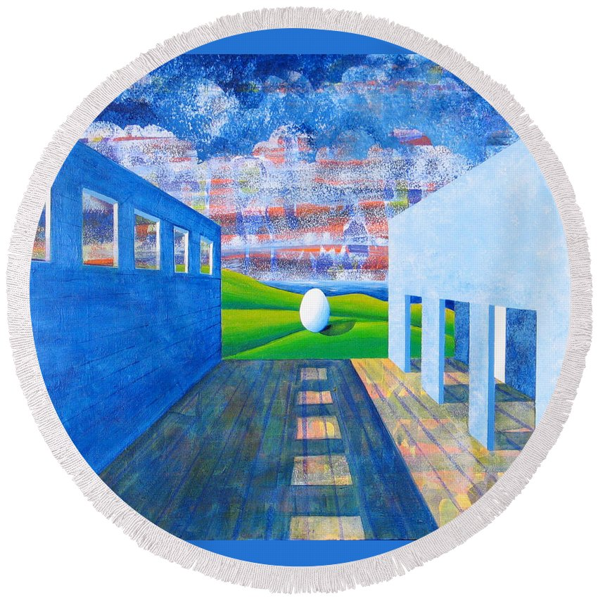 Surrealism Round Beach Towel featuring the painting Mystery And Memory by Rollin Kocsis