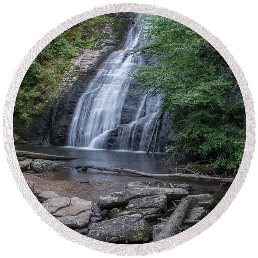 Fall Round Beach Towel featuring the photograph Mystery Falls by Charles Stackpole