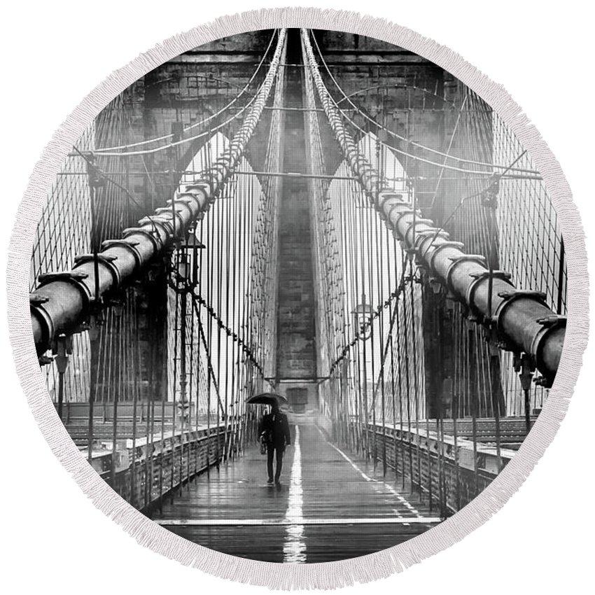 Brooklyn Bridge Round Beach Towel featuring the photograph Mystery Manhattan by Az Jackson