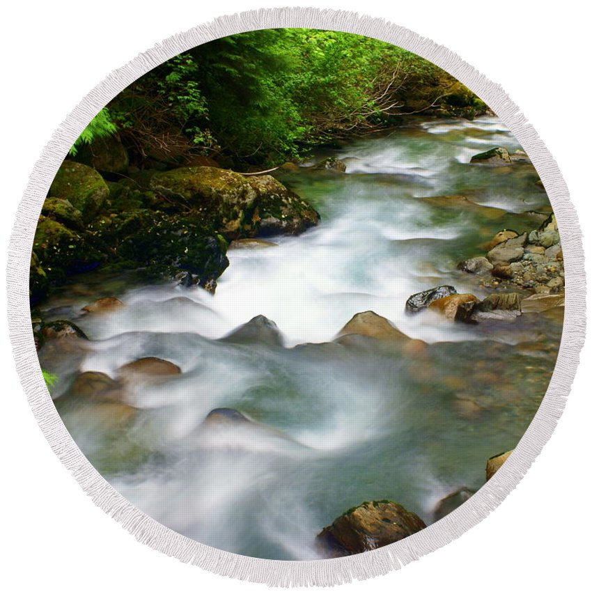 Creek Round Beach Towel featuring the photograph Mystic Creek by Marty Koch
