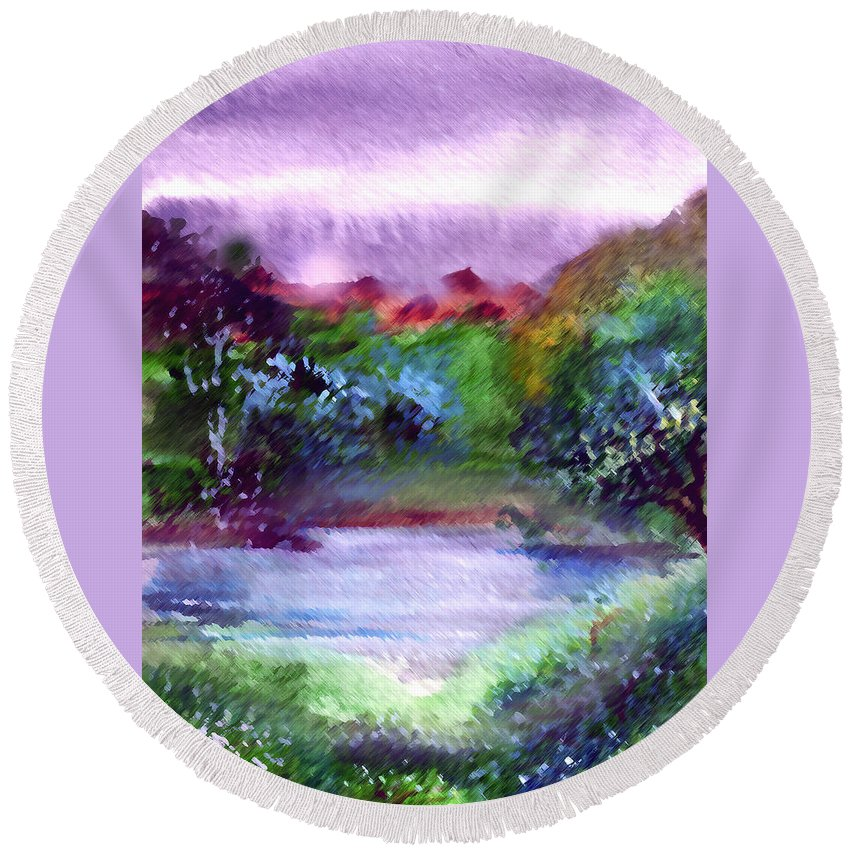 Lake Round Beach Towel featuring the painting Mystic Lake by Anil Nene