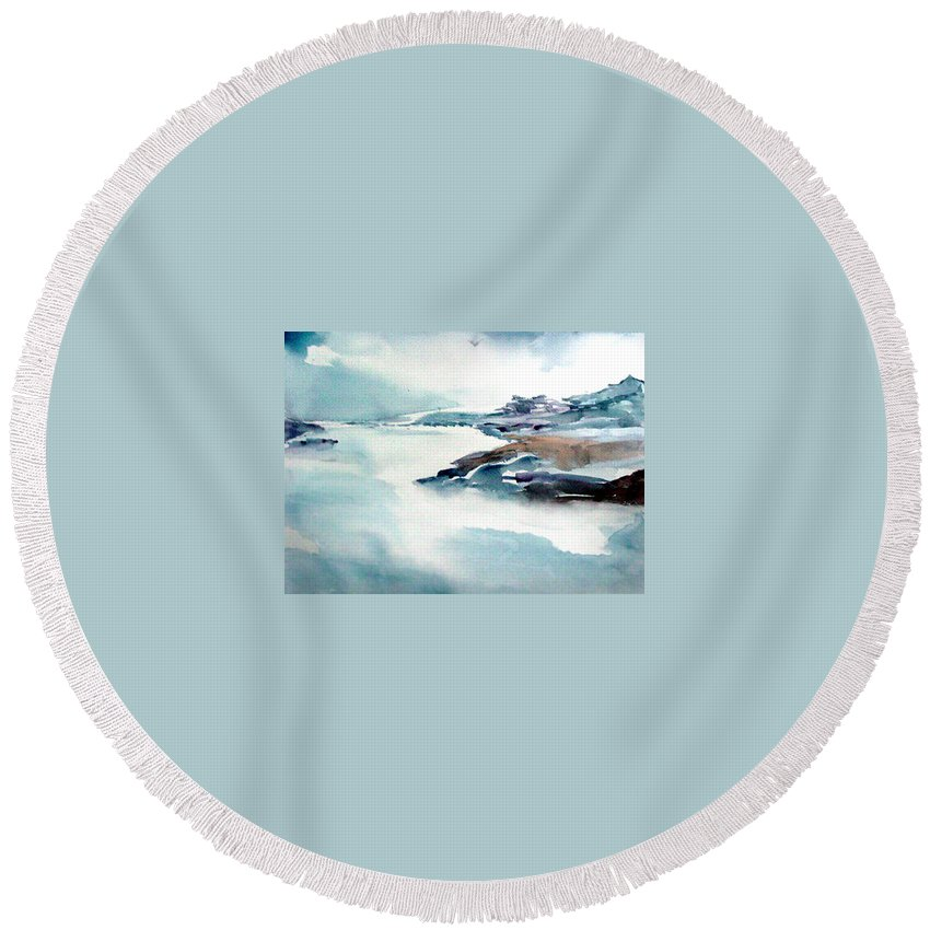River Round Beach Towel featuring the painting Mystic River by Anil Nene