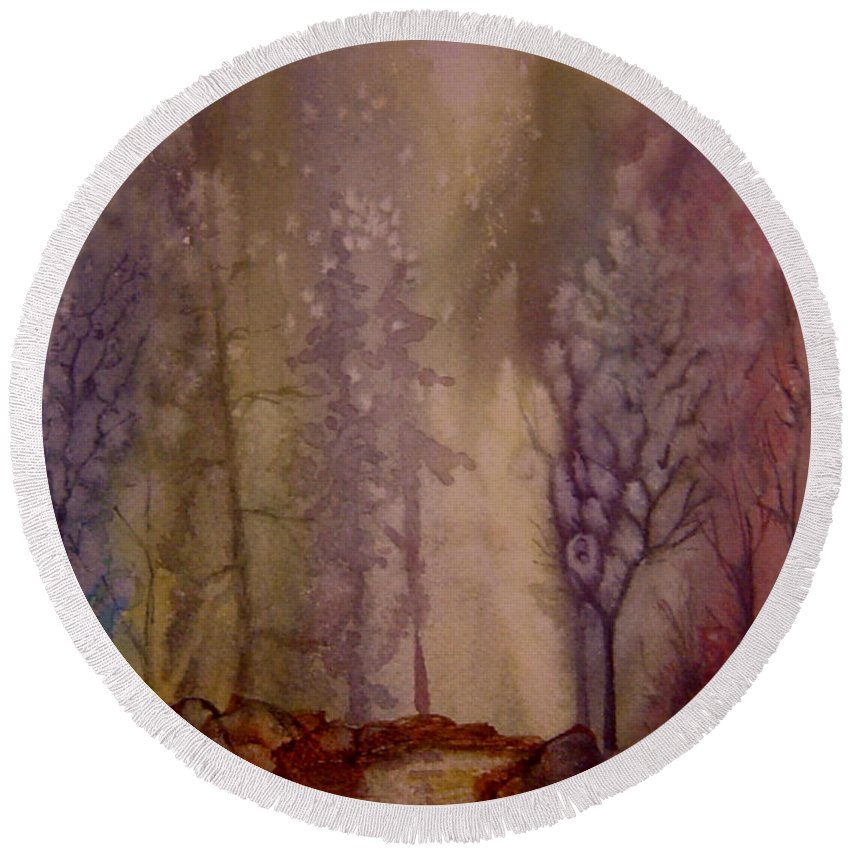 Mystic Forest River Round Beach Towel featuring the painting Mystic River by Joanne Smoley