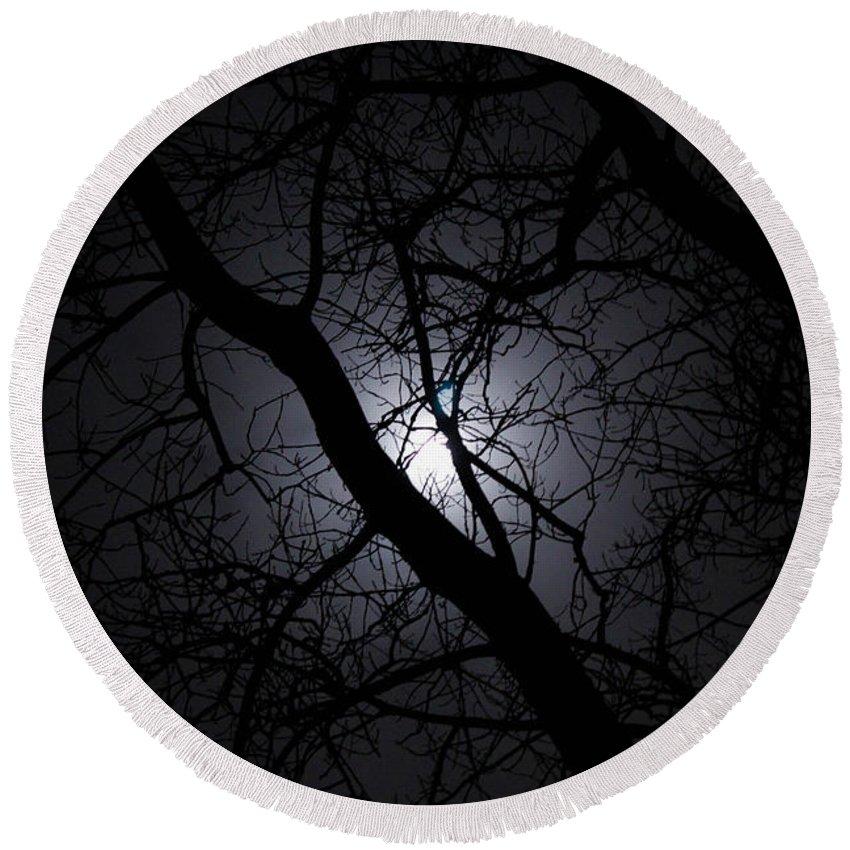 Moon Round Beach Towel featuring the photograph Mystical Moon by Stephanie Hanson